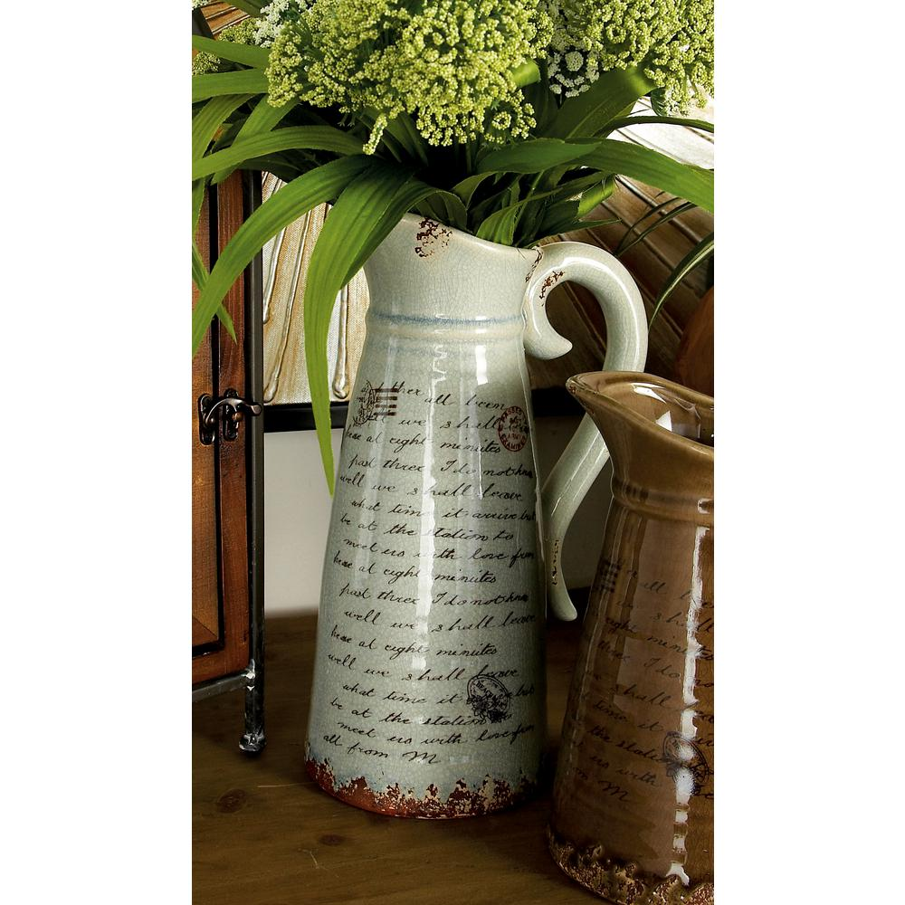 Globetrotter Taupe And White Ceramic Decorative Pitcher Vase Set Of 2