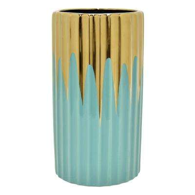 9.75 in. Turquoise and Gold Porcelain Vase