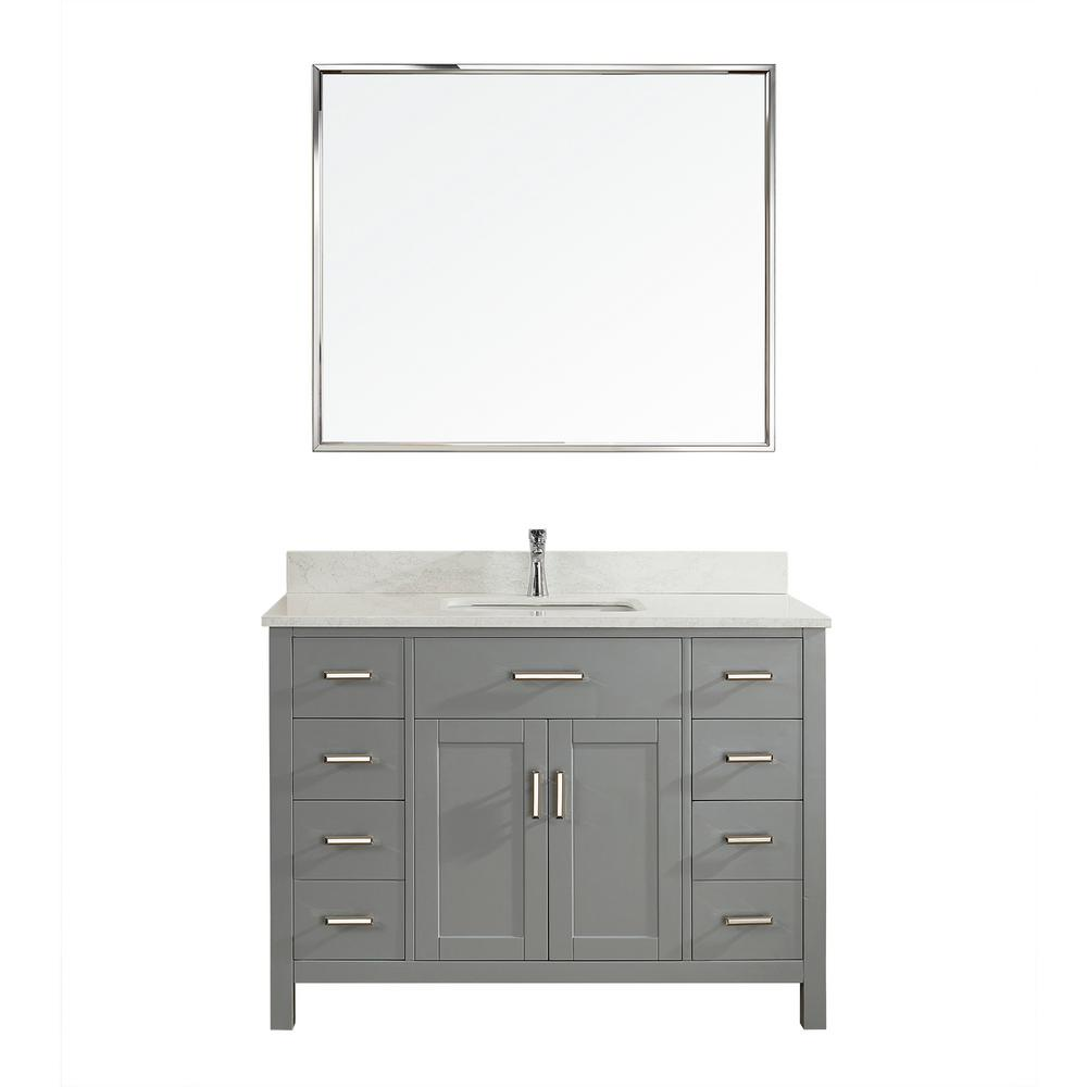 Studio Bathe Kalize II 48 in. W x 22 in. D Vanity in Oxford Gray with Thin Engineered Vanity Top in White with White Basin and Mirror