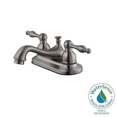 Saratoga 4 in. Centerset 2-Handle Bathroom Faucet in Satin Nickel