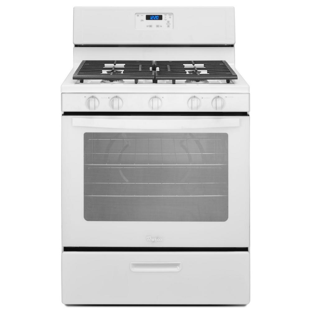 whirlpool 5 1 cu ft gas range in white wfg505m0bw the home depot. Black Bedroom Furniture Sets. Home Design Ideas