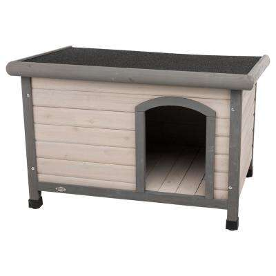 Natura Flat Roof Club Dog House in Gray Small - to Medium