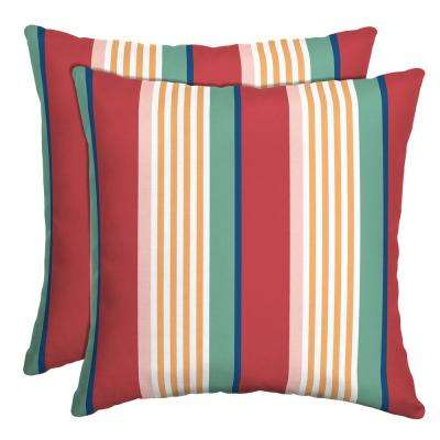 16 in. x 16 in. Keeley Stripe Outdoor Throw Pillow (2-Pack)