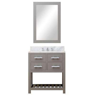 30 in. W x 21.5 in. D Vanity in Cashmere Grey with Marble Vanity Top in Carrara White, Mirror and Chrome Faucet