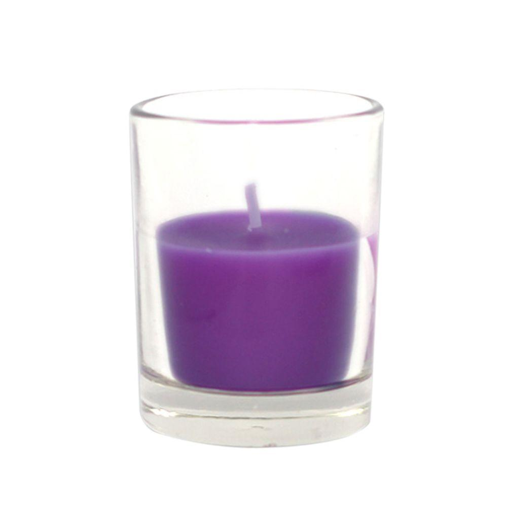 2 in. Purple Round Glass Votive Candles (12-Box), Purples / Lavenders
