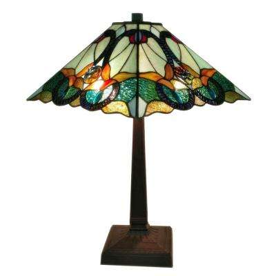 23 in. Multicolored Tiffany Style Floral Mission Table Lamp