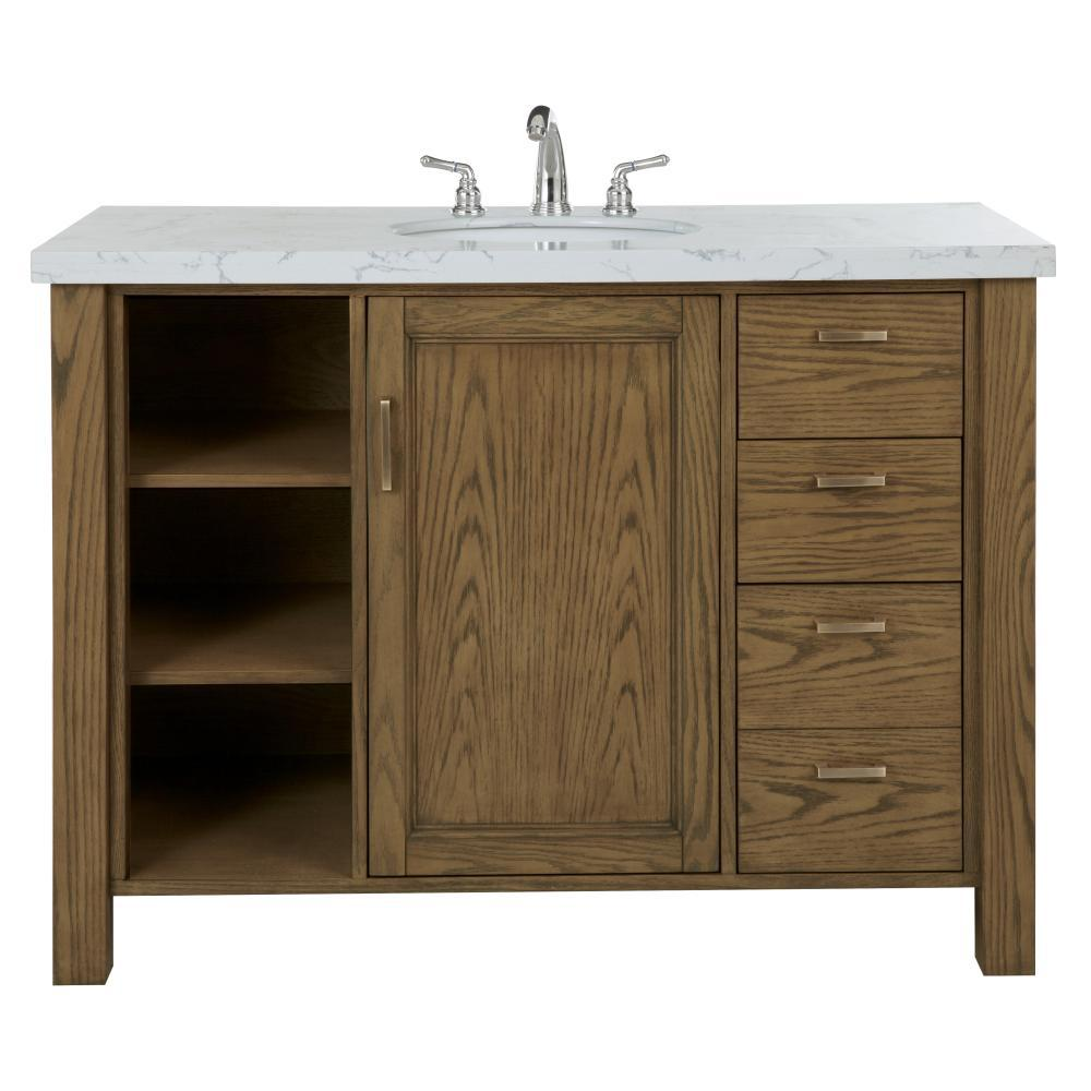 Home Decorators Collection Stanford 48 in. W Single Bath Vanity in Aged Oak with Faux Marble Vanity Top in White with White Sink