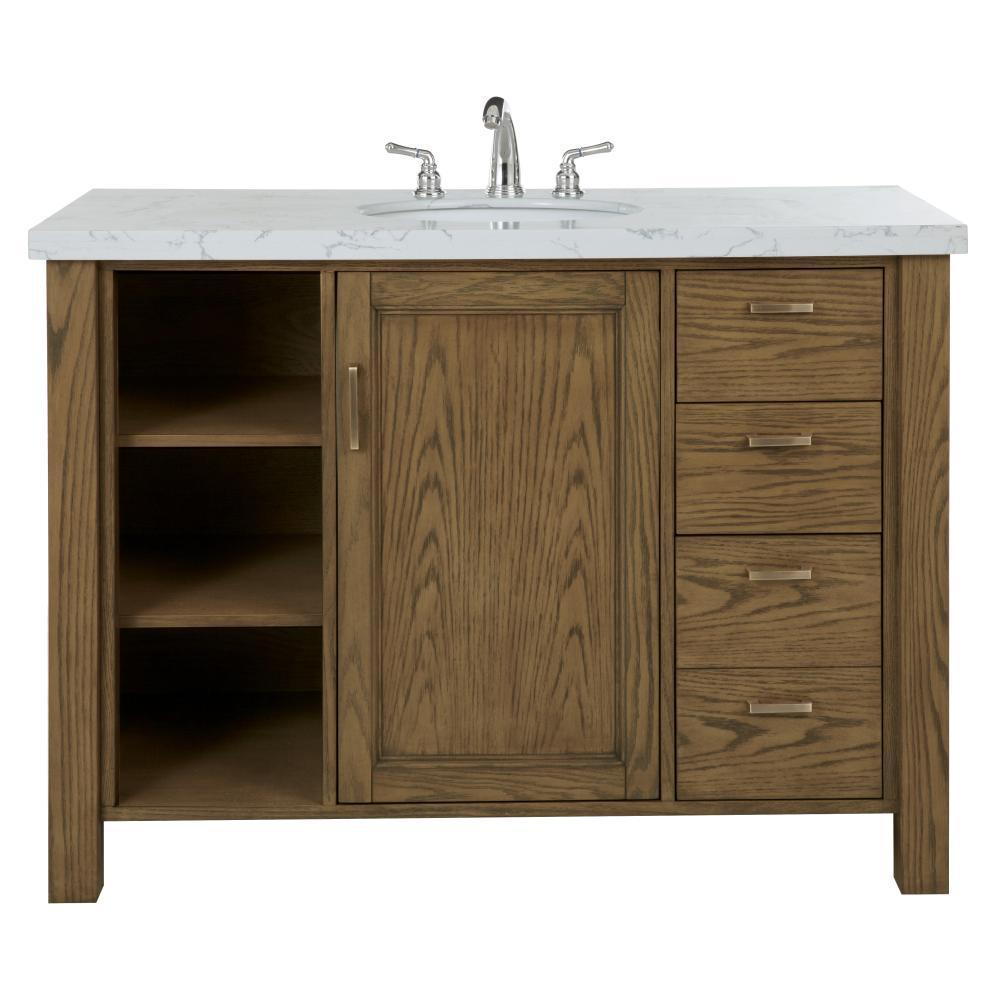 W Single Bath Vanity In Aged Oak With Faux Marble Top