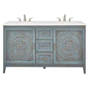 Home Decorators Collection Chennai 61 inch W Engineered Stone Vanity Double Top in Crystal White with Blue Wash Basin by Home Decorators Collection