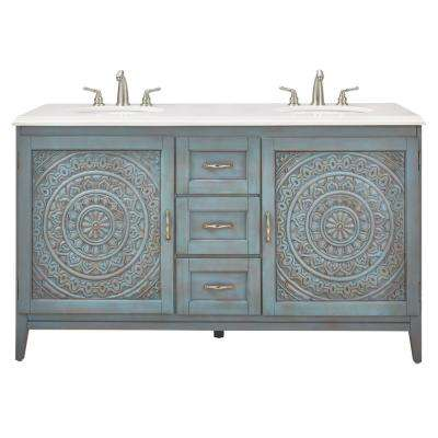 Chennai 61 in. W Engineered Stone Vanity Double Top in Crystal White with Blue Wash Basin