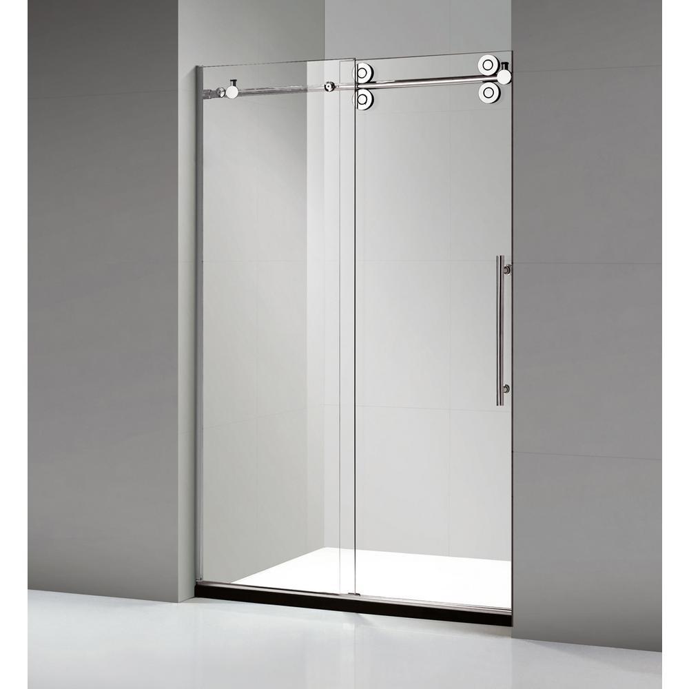 Frameless sliding shower door in stainless steel