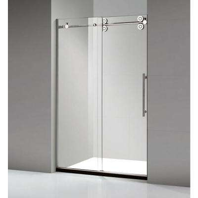60 in. x 79 in. Frameless Sliding Shower Door in Stainless Steel
