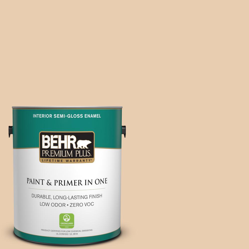 BEHR Premium Plus 1-gal. #BXC-64 Shortbread Cookie Semi-Gloss Enamel Interior Paint