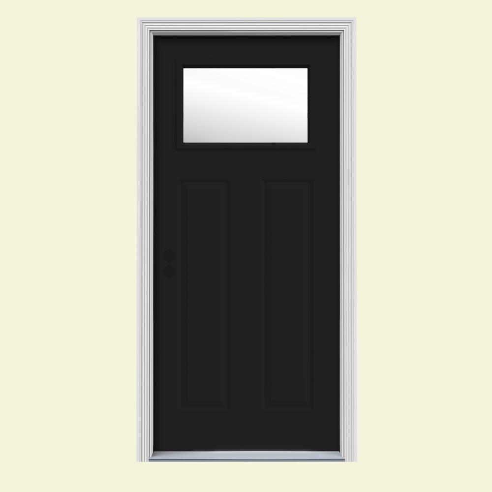 32 in. x 80 in. 1 Lite Craftsman Black w/ White Interior Steel Prehung Right-Hand Inswing Front Door w/Brickmould