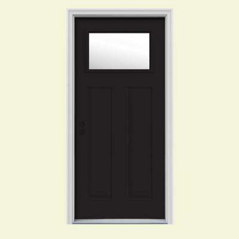 34 in. x 80 in. 1 Lite Craftsman Black w/ White Interior Steel Prehung Right-Hand Inswing Front Door w/Brickmould