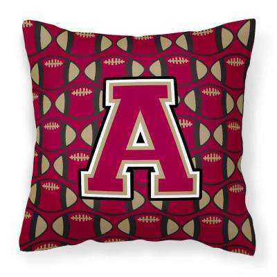 14 in. x 14 in. Multi-Color Lumbar Outdoor Throw Pillow Letter A Football Garnet and Gold