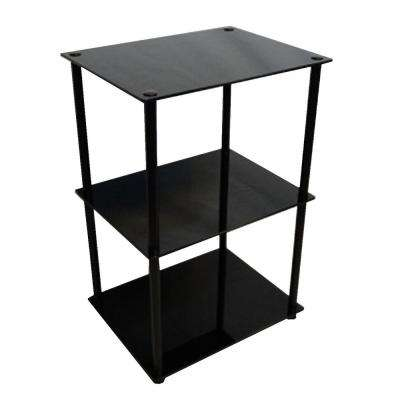 Designs2Go 3-Tier Black Glass End Table