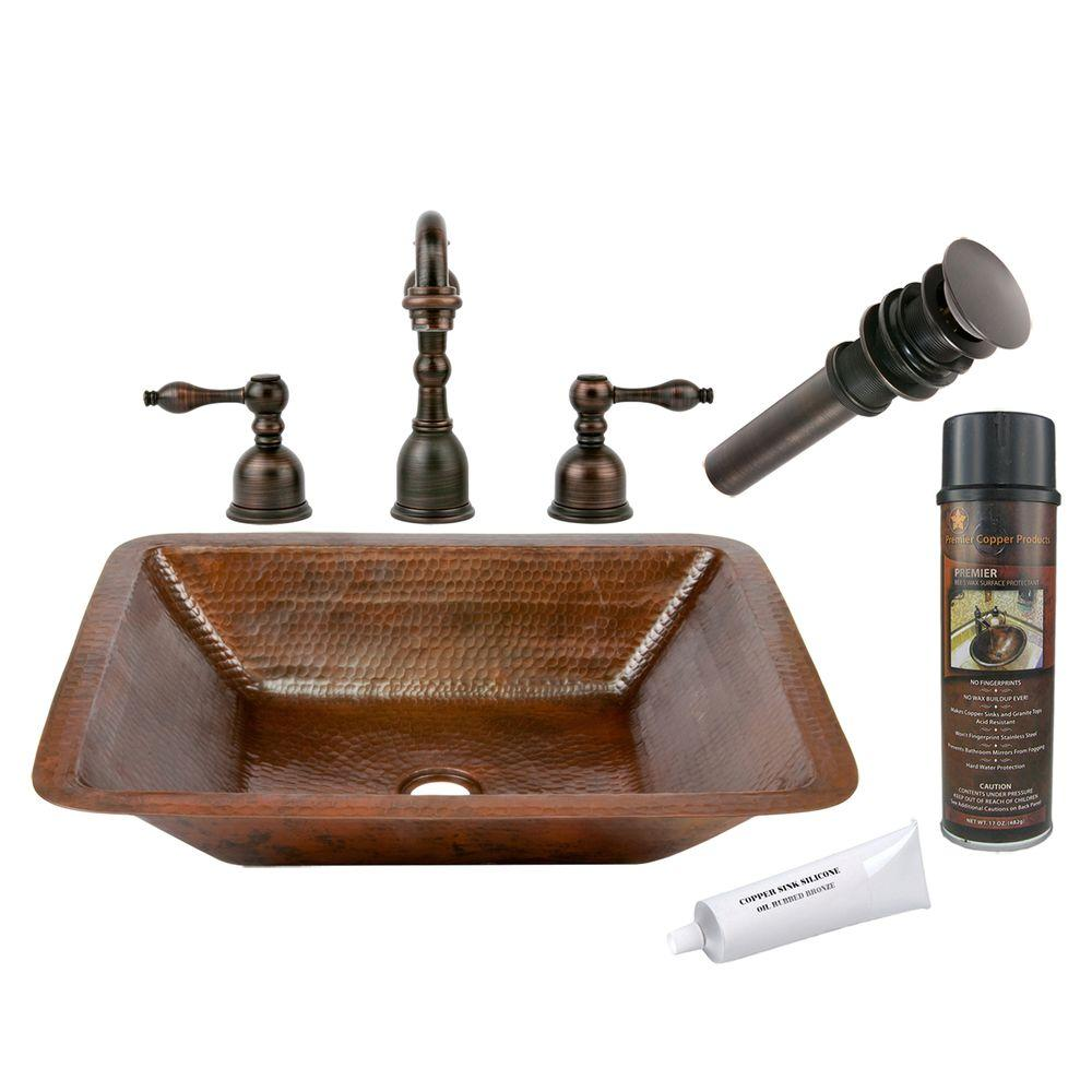 Premier Copper Products All-in-One Rectangle Under Counter Hammered Copper Bathroom Sink in Oil Rubbed Bronze