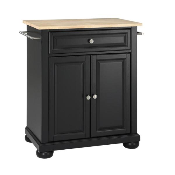 Alexandria Black Portable Kitchen Island with Wood Top