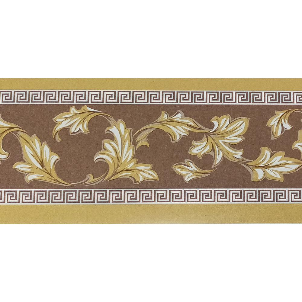 Dundee Deco Falkirk Mcghee Peel And Stick Damask Mustard Yellow Green Leaves Scrolls Self Adhesive Wallpaper Border Mg Hd Bd3105 The Home Depot
