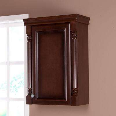Valencia 22 in. W x 26 in. H x 9 in. D Over the Toilet Bathroom Storage Wall Cabinet in Glazed Hazelnut