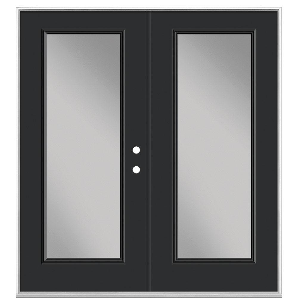 Masonite 72 in. x 80 in. Jet Black Steel Prehung Left-Hand Inswing Full Lite Clear Glass Patio Door in Vinyl Frame, no Brickmold