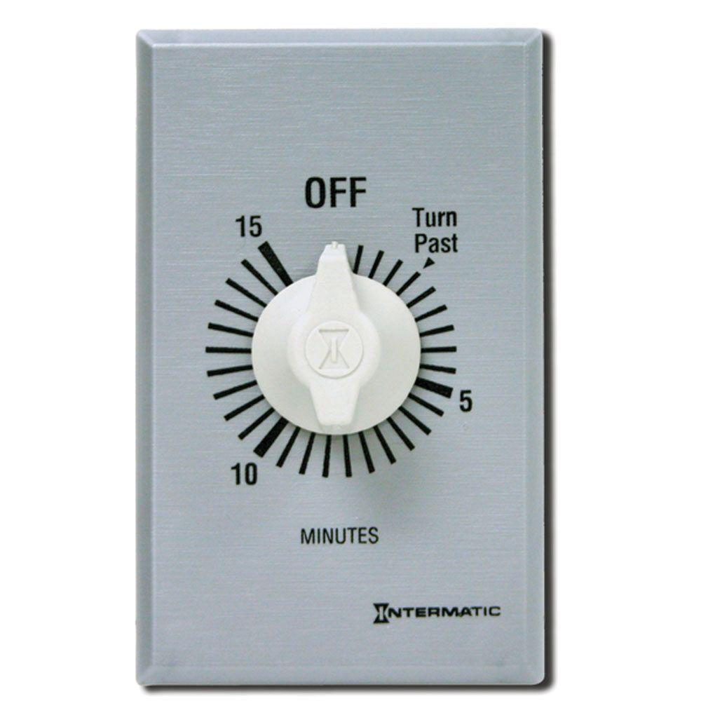 FF Series 10 Amp 15-Minute In-Wall Auto-Off Spring Wound Timer, Gray