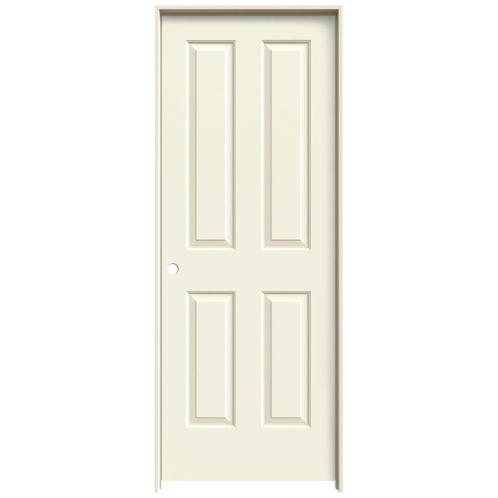 JELD-WEN 28 in. x 80 in. Coventry Vanilla Painted Right-Hand Smooth Molded Composite MDF Single Prehung Interior Door