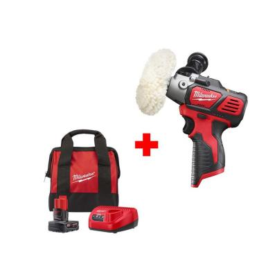 Milwaukee M12 12-Volt Lithium-Ion Cordless 3 in. Variable Speed Polisher/Sander Kit with One 4.0 Ah Battery, Charger and Bag