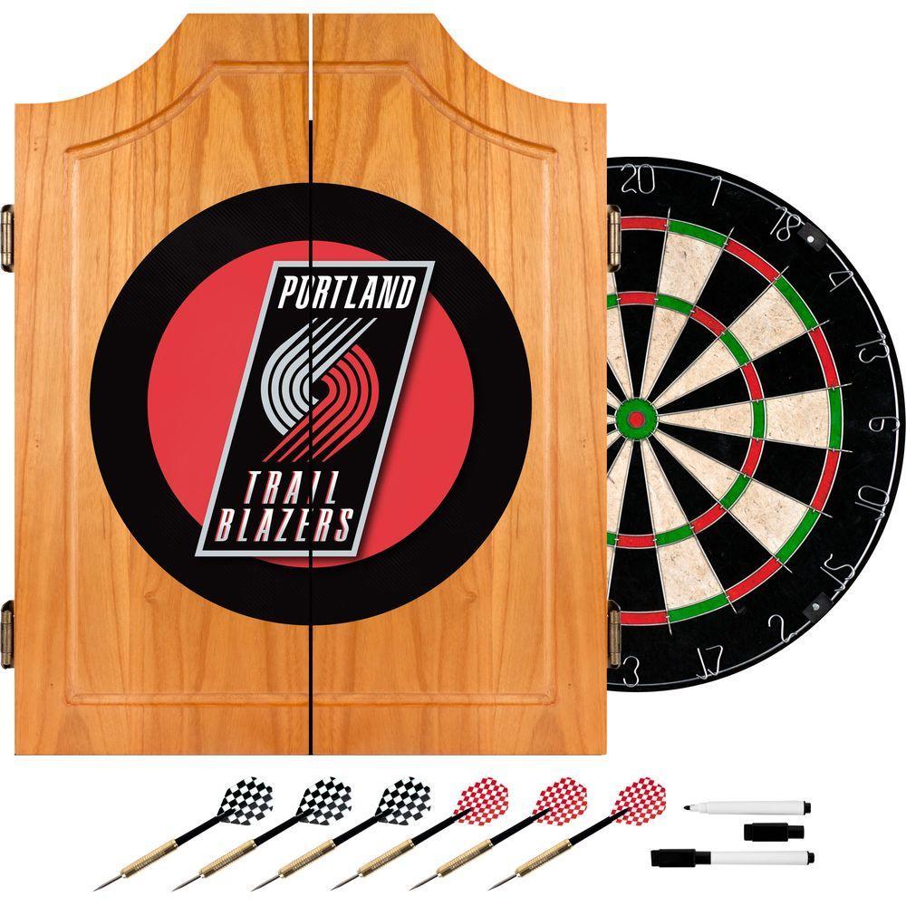 NBA Portland Trail Blazers Wood Finish Dart Cabinet Set