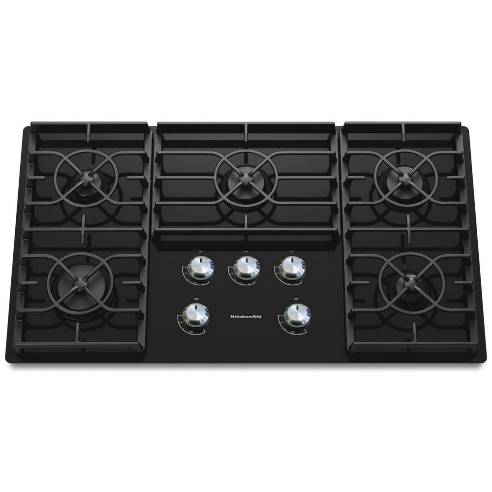 Attirant KitchenAid Architect Series II 36 In. Gas On Glass Gas Cooktop In Black