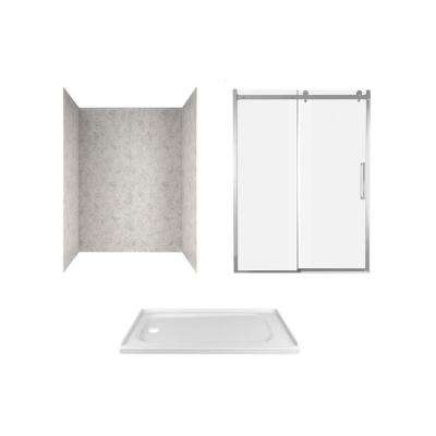 Passage 60 in. x 72 in. Left Drain Alcove Shower Kit in Platinum Marble and Chrome Hardware