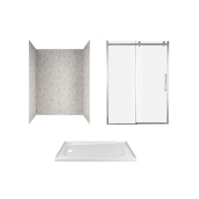 Passage 60 in. x 72 in. 3-Piece Glue-Up Alcove Shower Wall, Door and Base Kit with Left Drain in Platinum Marble