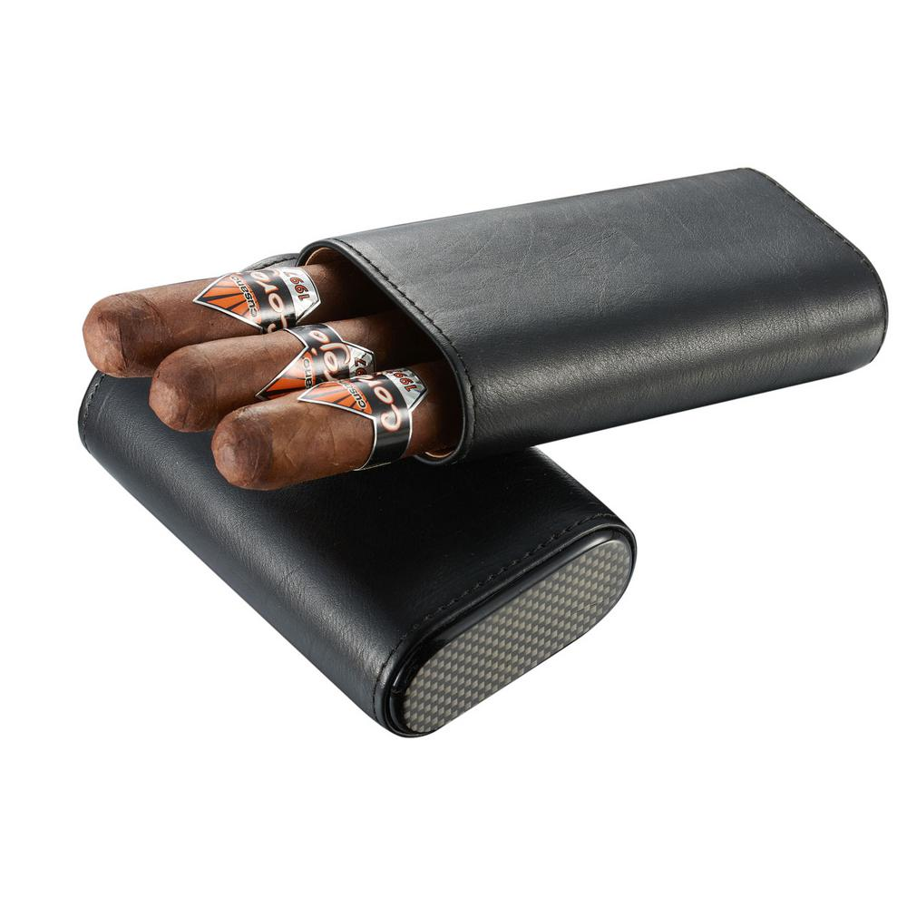 Visol Burgos Black Leather Cigar Case The Burgos lets you choose up to 2-3 of your larger ring cigars (56-60 ring gauge maximum) to take with you and since this case is easily adjustable, their length fails to be an issue either. Combined with the air-tight top, the interior has a cedar lining to preserve the quality and freshness of your cigars. Don't let the soft, premium leather of this case fool you. Your cigars are safe inside this suave black leather case, thanks to the crush proof exterior design of the Burgos. The carbon fiber printed top and bottom featured on this case, give it an edge you will not find with other cases.