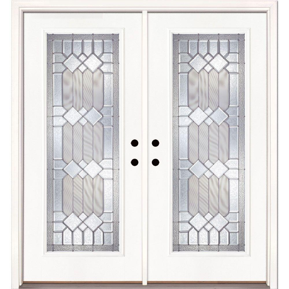 Feather River Doors 66 in. x 81.625 in. Mission Pointe Zinc Full Lite Unfinished Smooth Right-Hand Fiberglass Double Prehung Front Door