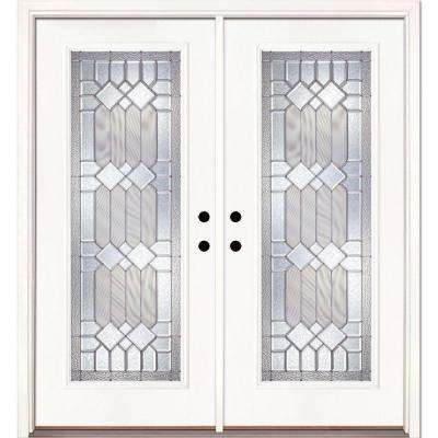 66 in. x 81.625 in. Mission Pointe Zinc Full Lite Unfinished Smooth Right-Hand Fiberglass Double Prehung Front Door