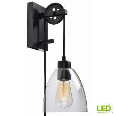 1-Light Oil Rubbed Bronze Clear Glass Plug-In Wall Sconce, Adjustable Pulley with Vintage LED Bulb