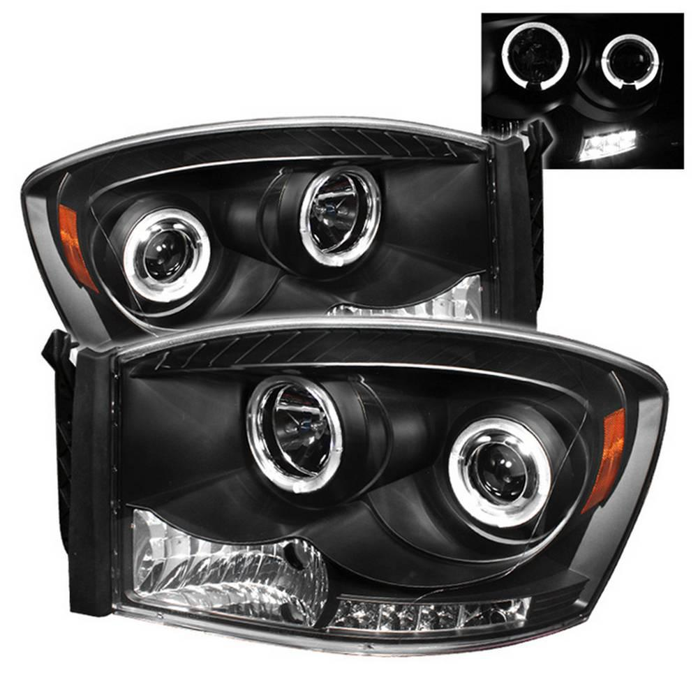 Dodge Ram 1500 06 08 2500 3500 09 Projector Headlights Led Halo Replaceable Leds Black