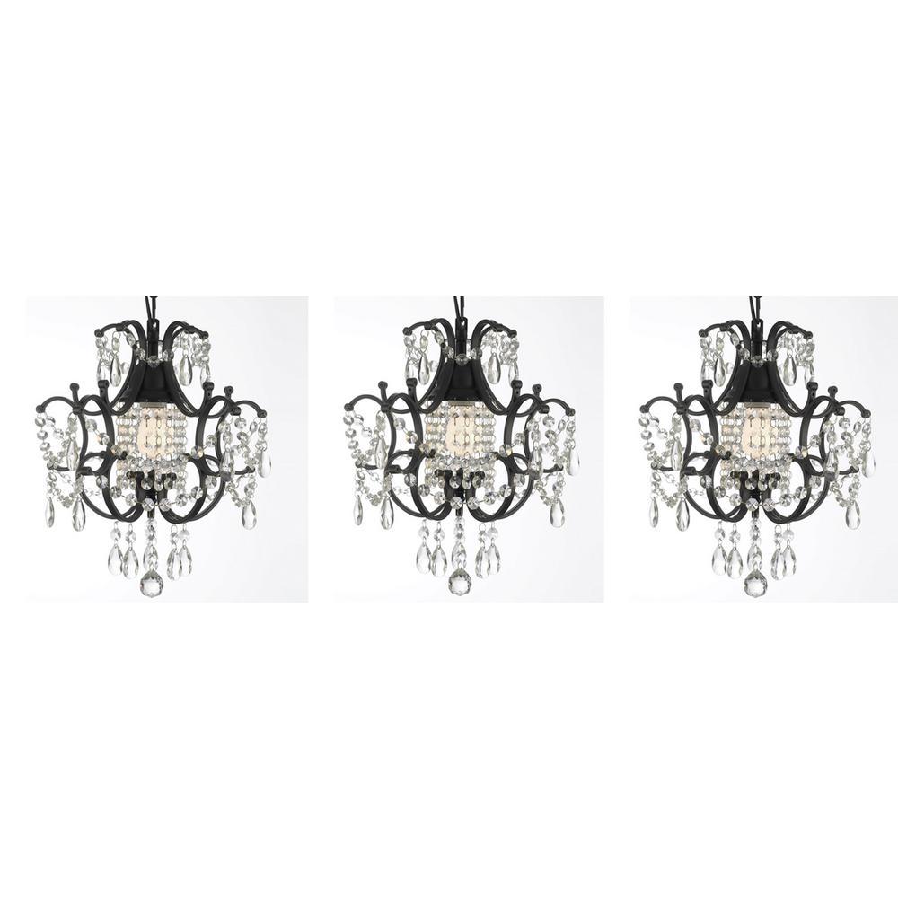 Versailles 1 light black mini chandelier with crystal set of 3 versailles 1 light black mini chandelier with crystal set of 3 arubaitofo Images