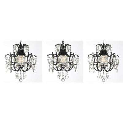 Black mini chandeliers lighting the home depot versailles 1 light black mini chandelier with crystal set of 3 aloadofball Choice Image