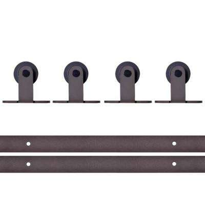 Top Mount 144 in. Antique Bronze Double Track Barn Door Hardware Kit