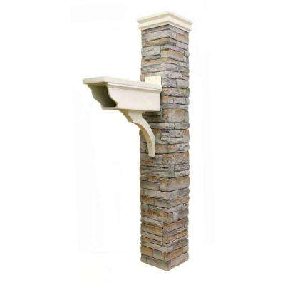 Gray Stacked Stone Newspaper Holder and Curved Cap Mailbox Post