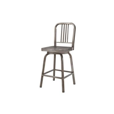 Kipling Gunmetal Gray Metal Swivel Counter Stool with Back (17.32 in. W x 40.55 in. H)
