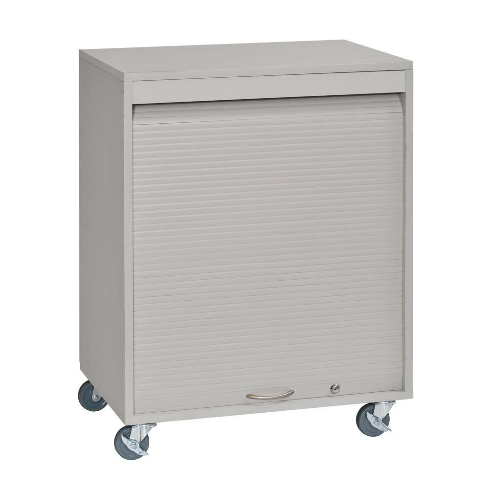Buddy Products 34 in. H x 26 in. W x 17.75 in. D Mobile Wood with Melamine Laminate Medical Cart in Platinum