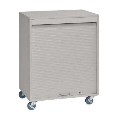 34 in. H x 26 in. W x 17.75 in. D Mobile Wood with Melamine Laminate Medical Cart in Platinum