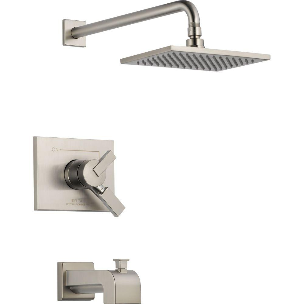 Delta Vero 1-Handle Tub and Shower Faucet Trim Kit in Stainless ...