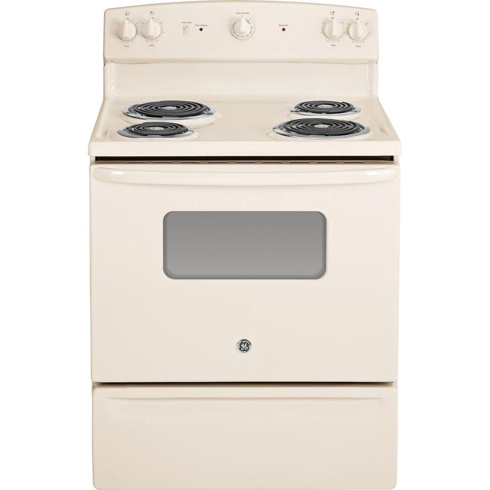 GE 30 in. 5.0 cu. ft. Electric Range in Bisque, Beige/Bisque