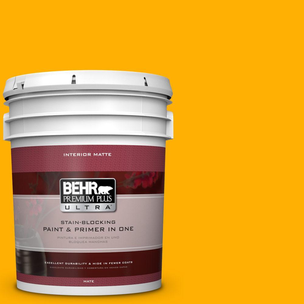 BEHR Premium Plus Ultra 5 gal. #S-G-350 Desert Glow Flat/Matte Interior Paint