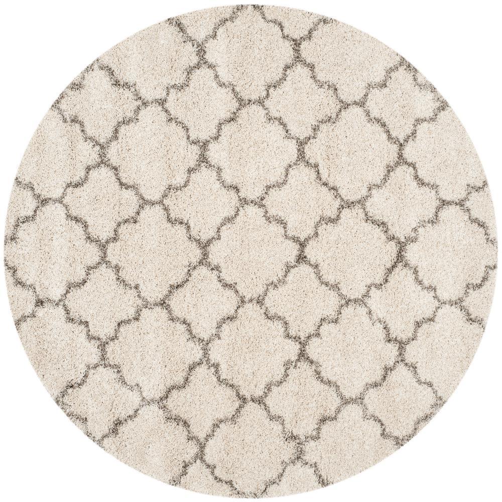 Hudson Shag Ivory/Gray 5 Ft. X 5 Ft. Round Area Rug