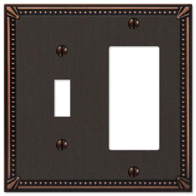 Imperial Bead 2 Gang 1-Toggle and 1-Rocker Metal Wall Plate - Aged Bronze